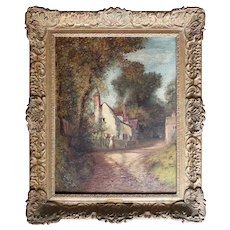 Charles James Parry, Figures By Cottages On Country Lane, Antique English Landscape Painting