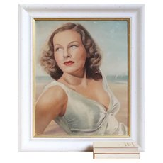 Portrait Of A Lady In White, Original Vintage Oil Painting, 1950s, 1960s, Midcentury