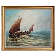 Bernard Benedict Hemy, c. 1875, Fishing Boat In Choppy Waters, Antique Marine Painting