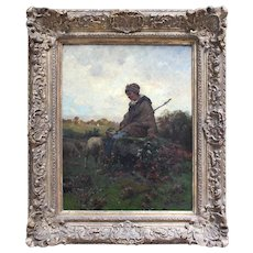 Emile Charles Dameron, The Young Shepherdess, Antique French Oil Painting