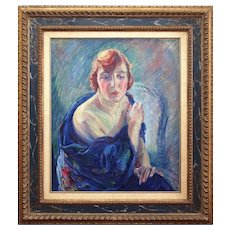 William Malherbe, Lady In A Blue Wrap, 1920s Oil Painting, Art Deco