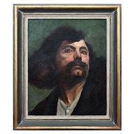 Hedwig Burkhardt, Portrait Of A Man, Antique Oil Painting