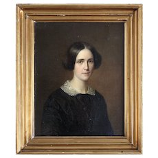 August Schiott, Portrait Of Antoinette Christiane Wulff, Fine 19th-Century Oil Painting