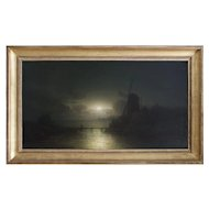 Wilhelm Lichtenheld, Coastal Nocturne, Antique Oil Painting