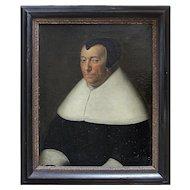 17th-Century Dutch School Portrait Of A Lady, Antique Oil Painting