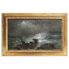 Ramon Martí i Alsina, Seascape, Antique Oil Painting