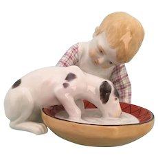 """Meissen """"Hentschel KIds"""" Hand Painted Child With Dog Figurine"""