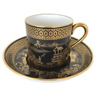 Spode Imperial Garden Gold/Black Demitasse Cup and Saucer Made in England