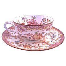 French Sarreguemines Hand Painted Cup and Saucer 19th century