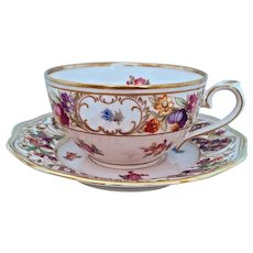 "Schumann Dresden Flowers ""Chateau""  Cup and Reticulated Saucer 1940s Germany"
