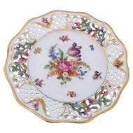 "Schumann Dresden Porcelain Hand Painted Reticulated 8 3/8"" Plate Germany 1930s-1940s"
