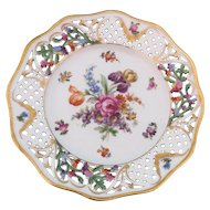 """Schumann Dresden Porcelain Hand Painted Reticulated 8 3/8"""" Plate Germany 1930s-1940s"""