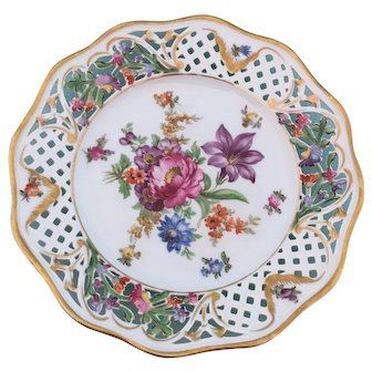 "Schumann Dresden Flowers ""Chateau""  Hand Painted Porcelain 8 3/8"" Plate Germany 1930s-1940s"