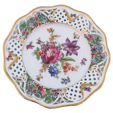 """Schumann Dresden Porcelain Hand Painted 8 3/8""""  Plate Germany 1930s-1940s"""