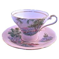 "Aynsley ""Bluebell Time"" Pastel Pink Cup and Saucer England"