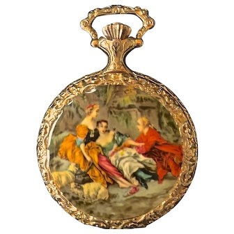 Vintage Wakmann Woman's Gold Pocket Watch  with  Figural Design  Swiss  Made