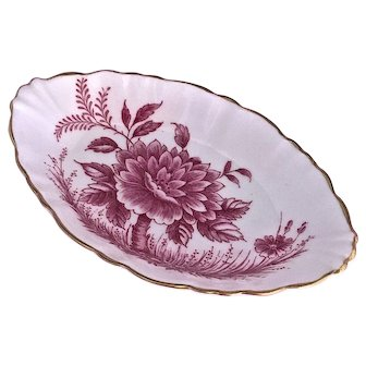"E.B. Foley English Bone China ""Peony"" Small  Oval Dish"