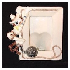 Unusual HTF Lefton China Whimsical & Fun Cowboy Picture Frame #00141