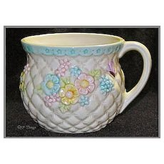 Lefton Pastel Quilted with Floral Butterfly Pot Mug Planter