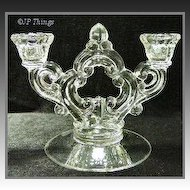 Cambridge No 647 2 Lite Ring Stem Key Hole Glass Candlestick