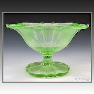 Stretch Glass Green Compote US Glass Line Number 310