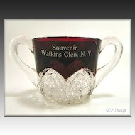 Ruby Stained McKee Heart Band Souvenir Sugar Bowl Watkins Glen NY