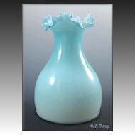 Victorian Blue Cased Glass Vase with Ruffled Edge