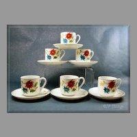 Occupied Japan Set of 6 Floral Demitasse Cups & Saucers