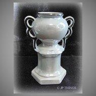 Czechoslovakian Gray Luster Urn Pottery Vase With Black Trim