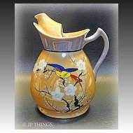 Unique Ice Lip Blue and Tan Luster Ware Pitcher Enamel  Bird and Dogwood Motif