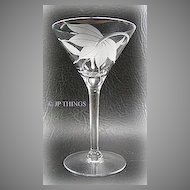 Exotic Sand Carved Floral Martini Sherry Glass