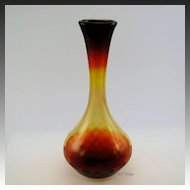 Beautiful Amberina Glass Diamond Optic Swirl Genie Vase Reds Yellow