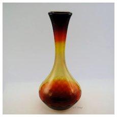 Beautiful Amberina Glass Diamond Optic Swirl Genie Vase Reds Yellow