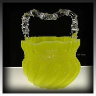 Unique Victorian Overshot Yellow Opaque Swirl Glass Thorne Handled Basket