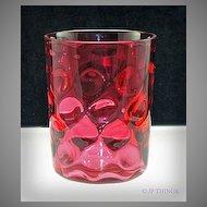 Cranberry Polka Dot aka Inverted Thumbprint Glass Tumbler