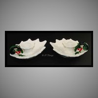 Lefton China White Holly Leaf Handled Candleholders No 6052