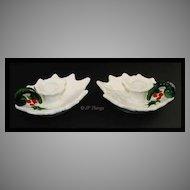 Lefton China White Holly Leaf Handled Candleholders No 6052
