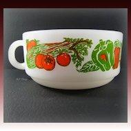 Vintage Jeanette Glass Glasbake Red & Green Vegetable Design Soup Mug J-2711