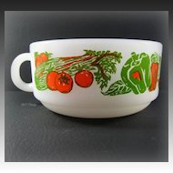 Vintage Jeanette Glass Glasbake Red & Green Vegetable Design Soup Mug J-2711