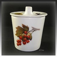 Royal Worcester Porcelain Evesham Mustard Jar with Lid Berries and Leaves