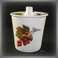 Royal Worcester Porcelain Evesham Mustard Jar with Lid Berries and Leaves