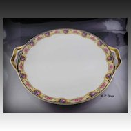 Haviland Limoges Porcelain France Pink Rose Blue Yellow Border Handled Cake Plate