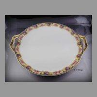 Haviland Limoges Porcelain France Pink Rose Blue Yellow Border Handled Cake Plate