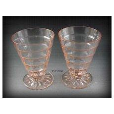Hocking Depression Glass Block Optic Pink Footed 3oz Tumblers