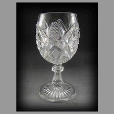 EAPG US Glass Pennsylvania aka Balder Wine Glass Brilliant Reflection