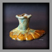 1950's Anna Van Briggle Glossy Green Drip Honey Glaze Candlestick Holder
