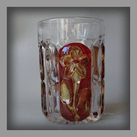 EAPG Ruby Stained Sunken Primrose a.k.a Florida Tumbler Greensburg Glass Company