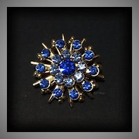 Vintage Snowflake Star Style Light & Dark Blue Sapphire Rhinestone Gold Tone Pin