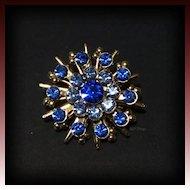 Vintage Snowflake Star Style Light & Dark Blue Sapphire Rhinestone Gold Tone Pin