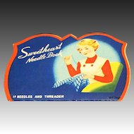 Vintage Sweetheart Sewing Needle Book Bold Graphics